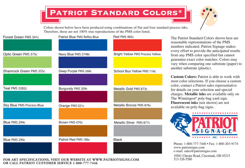 Patriot Signage - Product colors and artwork options
